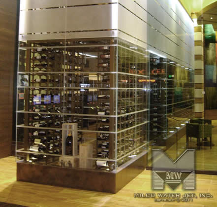 MILCO Waterjet - Final Product Waterjet cut Framework for Aliante MRKT Wine Room