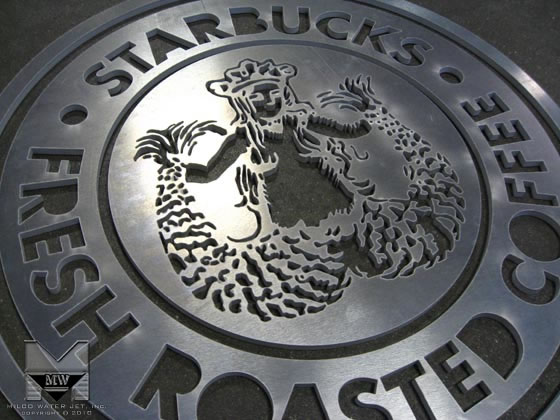 Aluminum Logo Sign for Starbucks Coffee - Retail Signage by MILCO Waterjet, in Orange County, Southern California